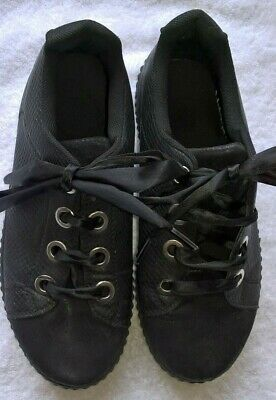 £19.99 • Buy Womens Black Platform Lace Up Ladies Flats Creepers Punk Goth Shoes Size 5