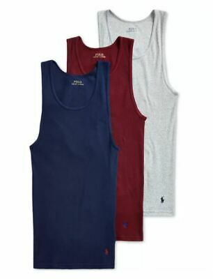 £32.92 • Buy Polo Ralph Lauren 3-Pack Men's Cotton Ribbed Classic Fit Tank Top Navy/Red/Grey