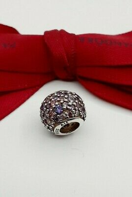 AU42 • Buy Authentic Pandora Mosaic Pink Purple CZ Pave Lights Ball Charm #791261 Retired