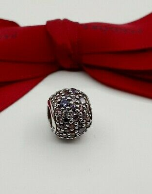 AU42 • Buy Authentic Pandora Mosaic Pink Purple CZ Pave Lights Ball Charm #791261 Retired .