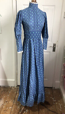 £199.99 • Buy Laura Ashley Vintage Dress Size Fits 8 Blue Made In Wales Edwardian Style 1970s