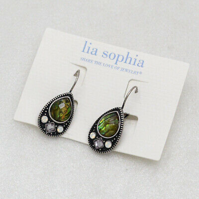 $ CDN10.88 • Buy Lia Sophia Vintage Silver Plated Teardrop Shapes Leverback Abalone Earrings Cute