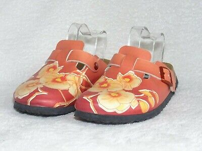 Womens Birkenstock Papillio Clogs Burnt Orange Floral Size 5 Uk 38 Eur Excellent • 59.99£