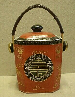 £120 • Buy Vintage Chinese Porcelain Tea Caddy With Cane Handle (PB1)