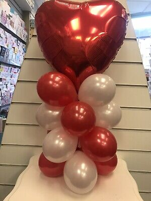 £4.99 • Buy Foil Heart Balloon Kit Party Table Decoration Red & White Engagement Anniversary