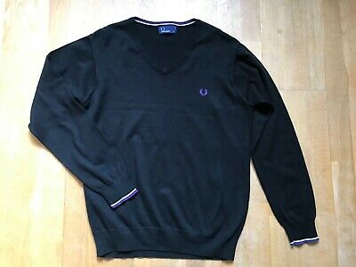 £15.95 • Buy FRED PERRY Mens Grey V Neck Thin Knit 100% Cotton Jumper @ Size Small