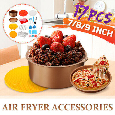 AU29.69 • Buy Gold 7 Inch 8 Inch 9 Inch Air Fryer Accessories Frying Dish Baking Pan Rack