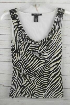 $ CDN12.67 • Buy White House Black Market Sleeveless Top XS Black Beige Animal Print