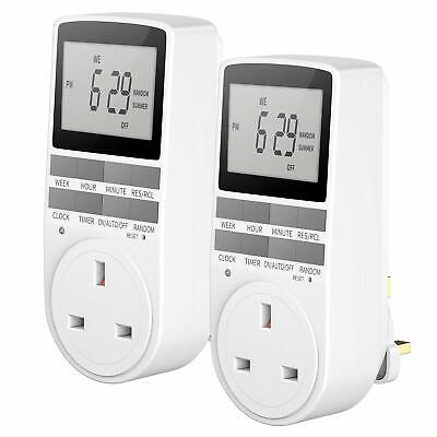 £16.98 • Buy Digital Electrical Timer Plug 24 Hours/7 Day Weekly Programmable Switch (2 Pack)