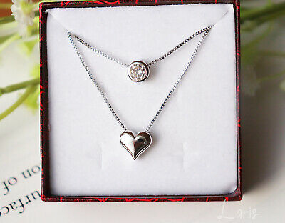 £10.99 • Buy 925 Sterling Silver Double Layer Chain Necklace Heart And Circle Pendant