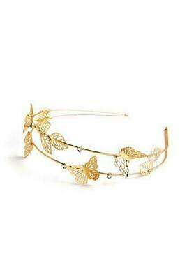 £2.99 • Buy Hair Band Head Band Metal Butterfly Gold Colour Beautiful Adult Size BNWT