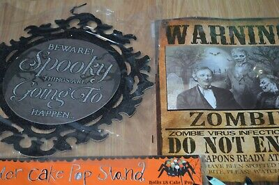 £10 • Buy Halloween Party Lot Decorations Spider Cake Pop Stand Posters Hats Glasses Props