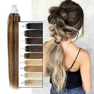 100G Premium Russian Remy Micro Loop Multi Sizes Deluxe Weft Hair Extensions • 23.62£