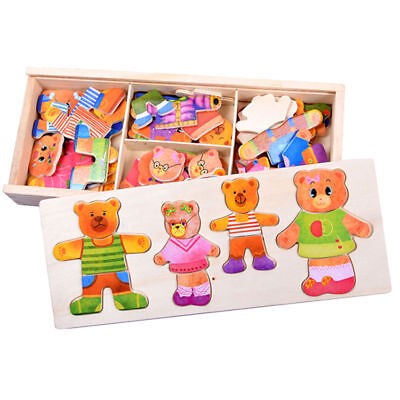 £7.59 • Buy Wooden Bear Changing Clothes Puzzle Set Baby Child Kids Educational Toys Gift#YH