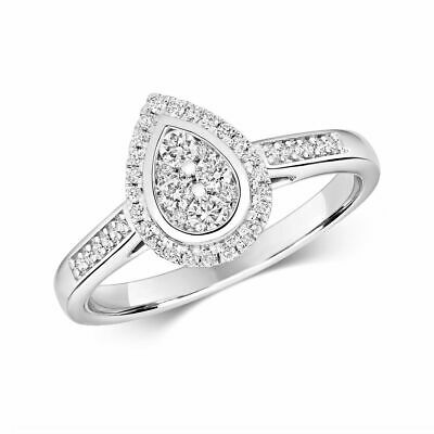 AU1758.54 • Buy Hallmarked 9ct White Gold 0.33ct Diamond Cluster Pear Ring Sizes J-Q New