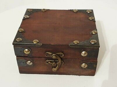 £5 • Buy Small Rustic Wooden Antique Style Jewellery Box Treasure Chest Trinket Keepsake