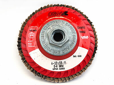 $40.45 • Buy CGW Ceramic Trimmable Flap Discs Wheel 4 1/2  X 5/8 -11 Hub C3-40 Grit (10pk)