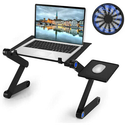 AU21.59 • Buy Adjustable Laptop Stand Foldable Notebook Table Desk Bed Tray Pad With Fan AU
