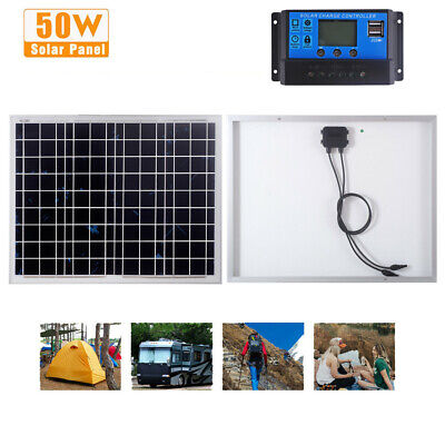 £43.99 • Buy 50w Poly Solar Panel Kit 12V Battery Charging Charger For Camping Boat Caravan