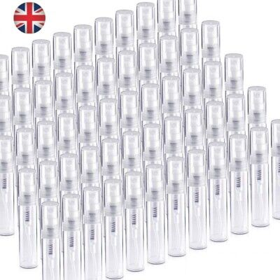 £3.79 • Buy 2/3/5ml Clear Sample Spray Bottles Plastic Empty Perfume Refill Container Travel