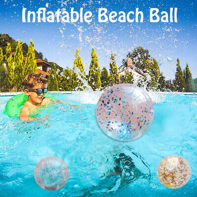AU11.51 • Buy Glitter Confetti Water Play Beach Ball For Kids Fun Pool Toys Inflatable Games
