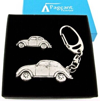 Classic VW Beetle Silver Pewter Chunky Keyring And Pin Badge Gift Set Boxed • 14.99£