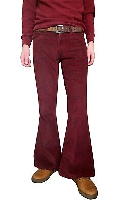 £36.99 • Buy Mens Flares Paisley Burgundy Bell Bottoms Corduroy Pants Hippie Trousers 60s 70s