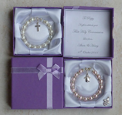 £8.99 • Buy First Holy Communion Gift For Girl Personalised Bracelet In Box Christian Gift