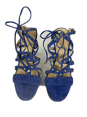 $ CDN62.43 • Buy Ivanka Trump High Heels Size 6 Blue Suede Gladiator Strappy Lace Up Braided Shoe