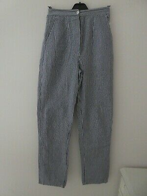 RUSSUM & SONS -CHEF's TROUSERS SIZE 12. 100% COTTON. Blue/White Check WORN TWICE • 3.95£