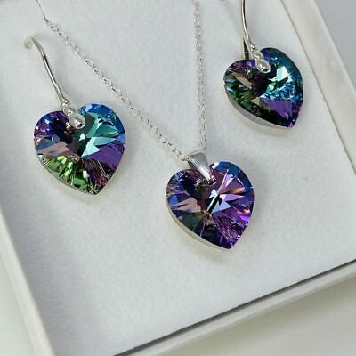 £26.99 • Buy 925 Silver Heart Necklace Earring Vitrail Lt Set Made With Swarovski® Crystal
