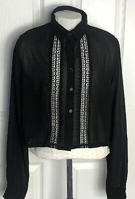 £4 • Buy Hearts And Bows Black Sheer Lace Blouse Victoriana Goth Emo Size 10