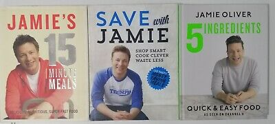 AU45 • Buy Jamie Oliver Cookbooks -5 Ingredients, Save With Jamie & 15 Minute Meals VGC