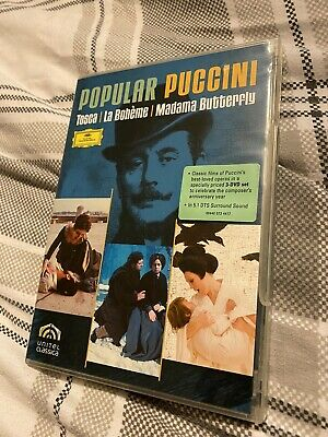 £7.99 • Buy Popular Puccini 3 Disc DVD Set With Booklet Tosca , La Boheme , Madama Butterfly