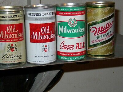 $18 • Buy 4 Diff SS PT Beer Cans '67+'71 Old Milwaukee Draft Miller Milwaukee Cr Ale NM BO