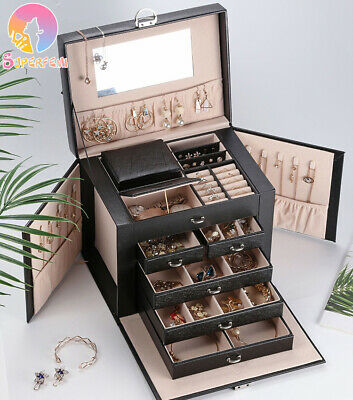 AU74.09 • Buy Extra Large Jewellery Box Gifts Necklace Ring Storage Lock Case Mirror Organizer