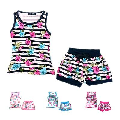 £8.99 • Buy Girls Shorts Set Floral Vest Top Striped 2 Piece Summer Outfit Tank Tops Tees
