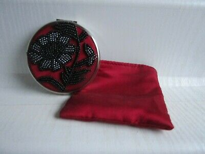 £20 • Buy Vintage LULU GUINNESS Beaded Silver Tone Double Mirror Compact In Satin Pouch
