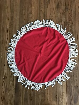 $ CDN12.12 • Buy Vintage Red Round Christmas Tablecloth With Fringe 27 Inch Diameter