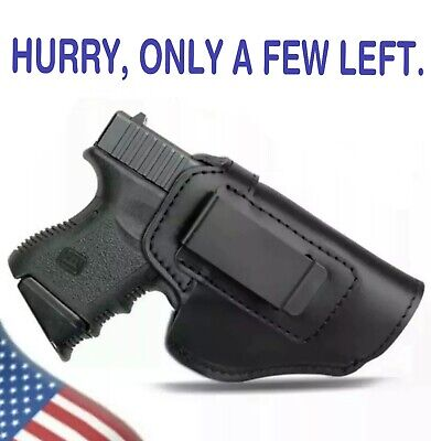 $14 • Buy Black Leather IWB Holster For Smith Wesson M&P Shield Glock 42 43 26 36 9MM CCW