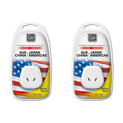 AU12 • Buy 2x Go Travel 2 Pin Plug Wall Power Outlet Socket AUS/NZ To USA/JAPAN Adapter