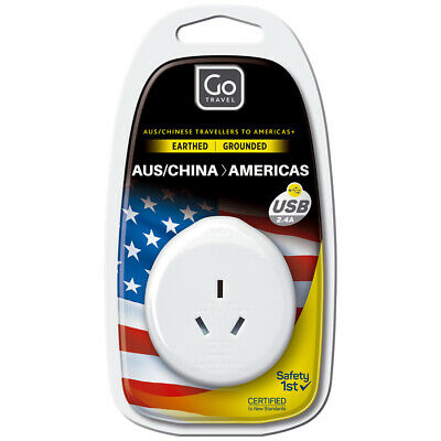 AU14 • Buy Go Travel Power Outlet Socket W/2.4A 5V USB Port AUS/NZ/CHINA To USA Adapter