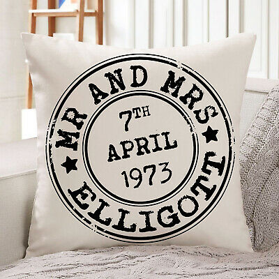£12.95 • Buy Personalised Wedding Cushion Cover Anniversary Stamp Pillow Mr & Mrs Love KC35