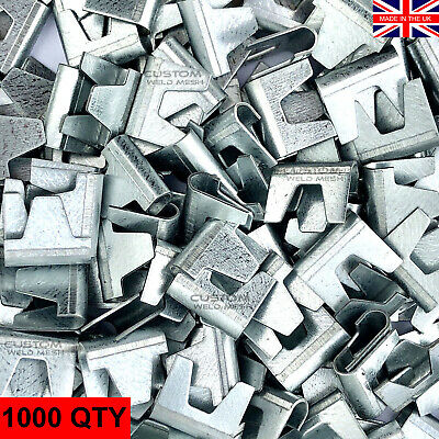 £46.95 • Buy Large Wire Mesh Clips 1000x - Gabions, Cage Making, Fencing, Mesh Panels Galv