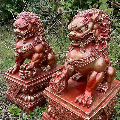 £209.99 • Buy Red Chinese Fu Temple Lions - Foo Dogs Statue