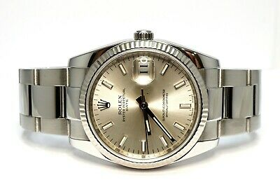 $ CDN8514.37 • Buy ROLEX Oyster Perpetual Date 34 2008 115234 Silver Baton Dial Box And Papers