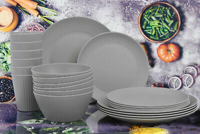 £35.99 • Buy 24pc Bamboo Fibre Melamine Picnic Dinner Plate Set Outdoor Party Camping Travel
