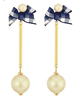 $ CDN50.11 • Buy BN Kate Spade Purely Pearly Linear Bow Earrings- Blue Check