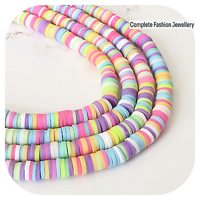 £2.99 • Buy 1 Strand 6mm Violet/multi Flat Round Polymer Clay Spacer Beads/ Jewellery Making
