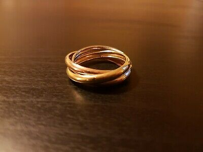 £199 • Buy 9ct 9K White, Yellow, Rose Gold Trinity Band Ring Size Q